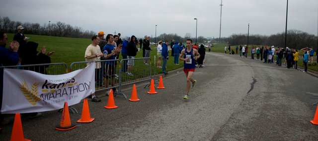 DJ Hilding cruises to the finish line to win the Kansas Marathon half marathon. Hilding won the event in 1:17:59.7 on Sunday at the Lied Center.