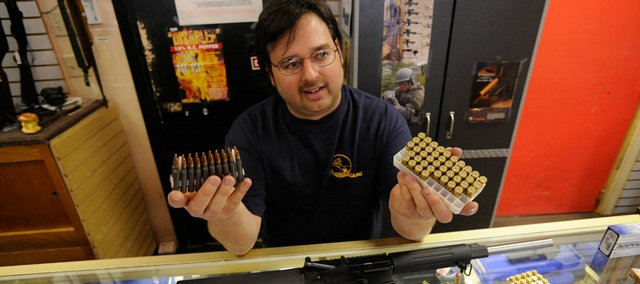 John Geery, manager of Jayhawk Pawn & Jewelry, 1804 W. Sixth St., says retailers in Kansas and surrounding states are seeing shortages on bullets for 9 mm handguns, .223-caliber assault weapons and AK-47 rifles. And rounds that once sold for 15 cents a bullet, now sell for 50 cents.