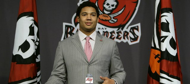 Tampa Bay Buccaneers 2009 first-round draft pick, Josh Freeman gestures during a news conference Monday April 27, 2009 in Tampa, Fla. Freeman was a quarterback at Kansas State.