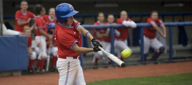 Kansas' Val Chapple lifts a Baylor pitch up and out of the ballpark for a homerun during a four-run fifth inning that got Kansas back in the game on Sunday, April 26, 2009, at Arrocha Ballpark.