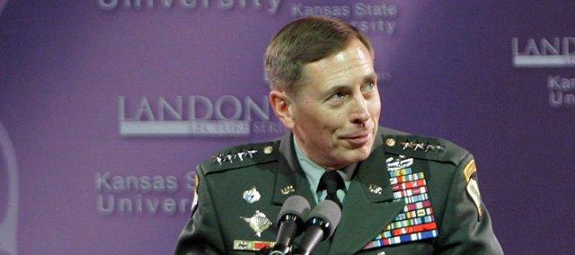 Gen. David Petraeus talks Monday during the Landon Lecture Series at Kansas State University in Manhattan.