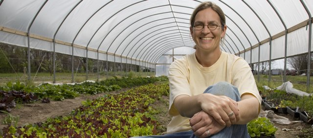 Jill Elmers grows a variety of greens, including mustard and Asian varieties, at her East Lawrence farm, Moon on the Meadow.
