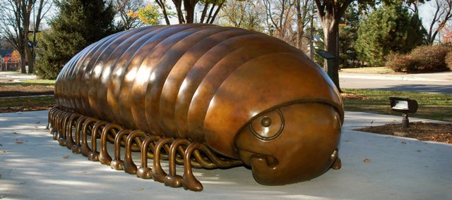 "The ""Millipede"" by Tom Otterness is the newest addition to the Martin H. Bush Outdoor Sculpture Collection at Wichita State University's Ulrich Museum of Art. The piece is one of more than 70 pieces of art scattered across the Wichita State campus. The outdoor exhibit is free and open to the public all day, every day."