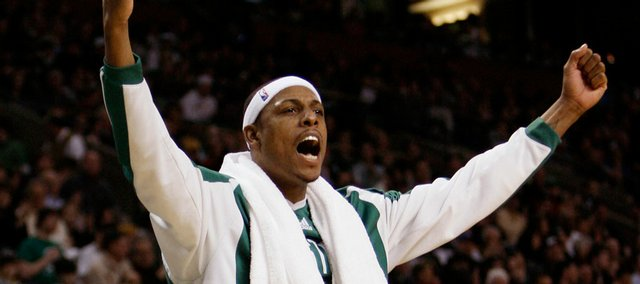 Bostons Paul Pierce celebrates a basket by his Celtics teammates in this file photo. Pierce will be returning to Allen Fieldhouse for the Legends of the Phog exhibition game on Sept. 24.