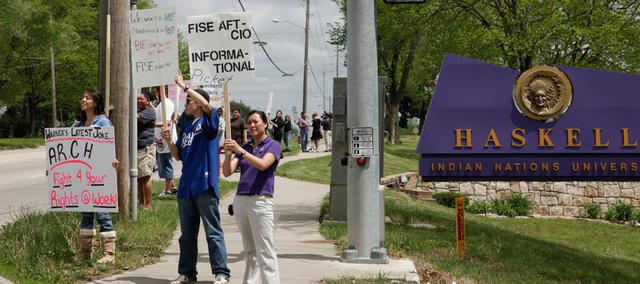 Members of the Federation of Indian Service Employees at Haskell Indian Nations University participated in union-sanctioned picketing Wednesday at 23rd Street and Barker Avenue.