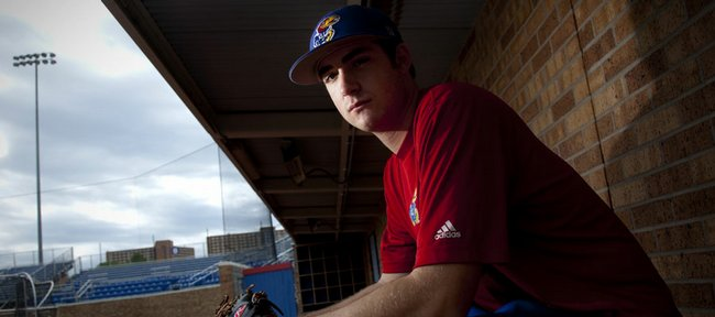 Kansas University freshman pitcher Lee Ridenhour, pictured Thursday at Hoglund Ballpark, is 5-2 with a 4.04 ERA for the Jayhawks this season.