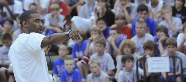 Former Kansas University basketball player Keith Langford speaks at the Bill Self Basketball Camp in this 2008 file photo.