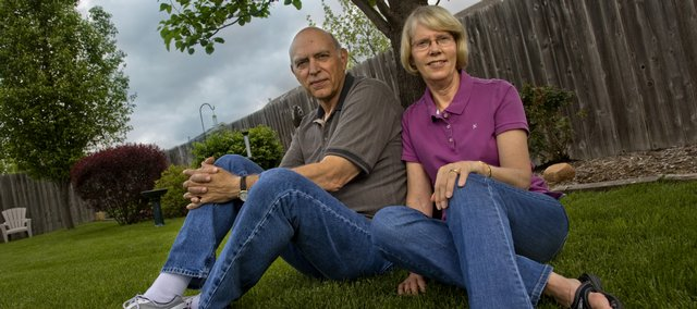 "Ed and Donna Black are pictured in the backyard of their Lawrence home. Their yard was one of the first in Douglas County to be certified as a ""Healthy Yard"" by Kansas State University's new Kansas Healthy Yards and Communities program."