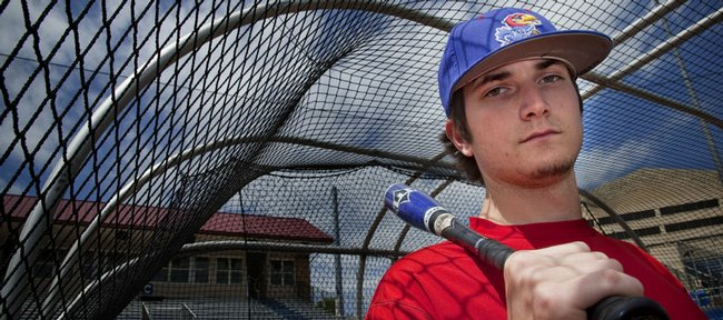 Kansas University sophomore third baseman Tony Thompson has emerged as the Jayhawks' most powerful hitter this season. He is pictured on May 7 at Hoglund Ballpark.