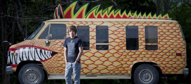 "Martin Nelick, a graduating senior at Baldwin High School, will present his ""Dragon Wagon"" at Saturday's Art Tougeau parade."