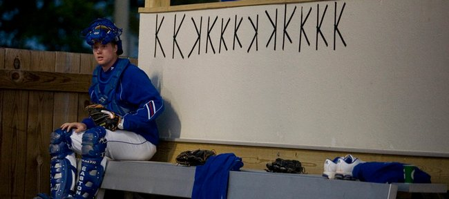 Taped-up Ks beside the Kansas bullpen keep count of starting pitcher T.J. Walz's strikeouts for the game against Kansas State. Walz had 12 in the Jayhawks' 9-3 victory Saturday at Hoglund Ballpark.