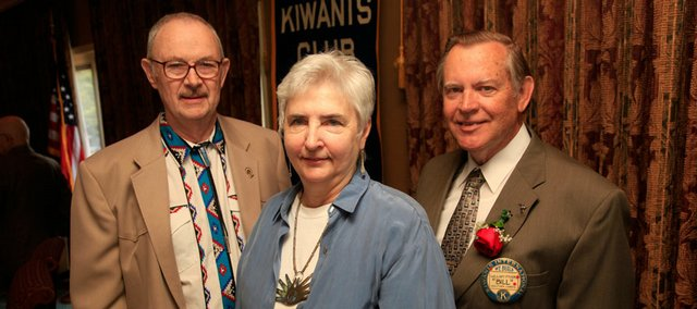 Recipients of the Lawrence Kiwanis Club's Substantial Citizen Award, from left, Brower and Mary Burchill and Bill Myers, were honored Thursday at the Lawrence Country Club.