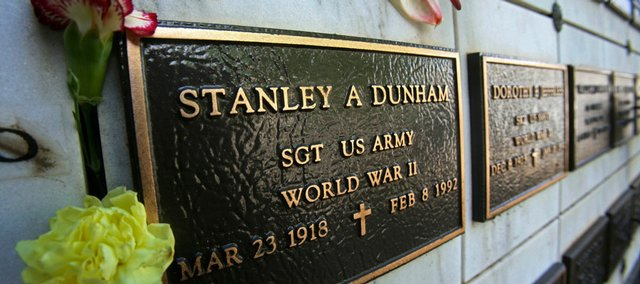 This 2008 file photo shows the grave site of then President-elect Barack Obama's maternal grandfather, WWII veteran Stanley Armour Dunham, at the National Memorial Cemetery of the Pacific at Punchbowl in Honolulu.