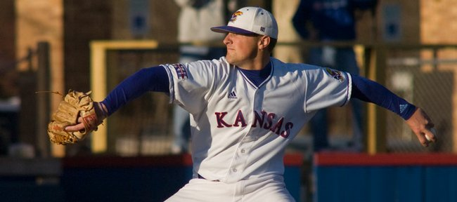 Kansas starter Shaeffer Hall hurls a pitch in this April 3, 2009, file photo. Hall allowed five hits over nine innings in his best outing since tossing a no-hitter in his first start, Feb. 20, against Air Force.