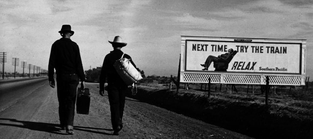 "Farm Security Administration photographer Dorothea Lange captured this juxtaposition of subjects in this 1937 image titled ""Toward Los Angeles CA."" For a gallery of other juxtaposition images, visit LJWorld.com."