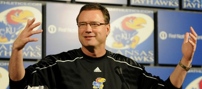 Kansas University men's basketball coach Bill Self addresses the media in this March 2009 file photo.
