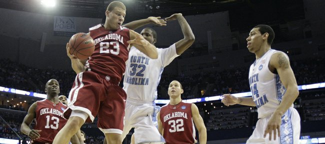 Blake Griffin (23) takes down a rebound in this March 29 file photo at the NCAA Tournament in Memphis, Tenn. Griffin, the projected No. 1 overall pick in this year's NBA Draft, worked out for the Clippers on Saturday.