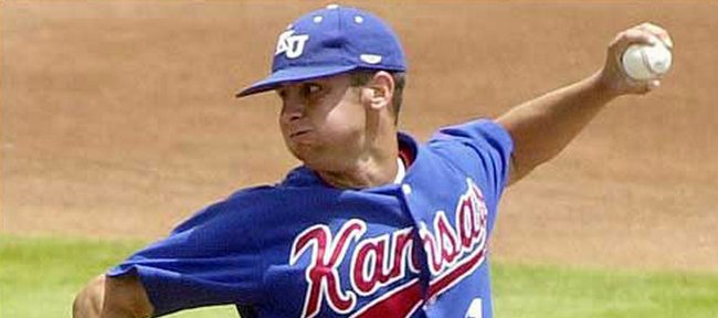Former KU baseball player Ryan Knippschild pitches in this 2004 file photo.