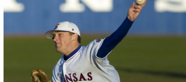 Kansas' Shaeffer Hall delivers a pitch against Oklahoma State in this April 10 file photo. Hall signed a contract with the New York Yankees on Friday.