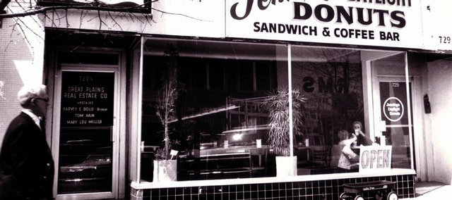 A 1979 view of Jenning's Daylight Donuts, 729 Massachusetts St. Lids is located at 729 Mass. now.