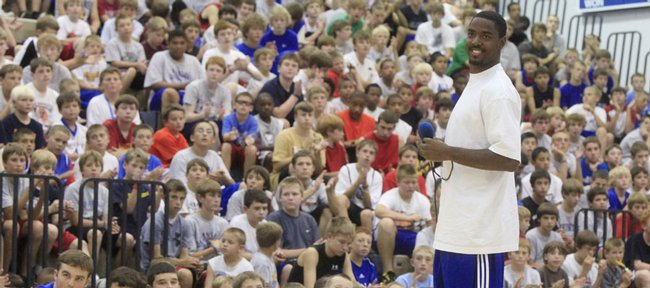 Former Jayhawk standout under Roy Williams and Bill Self AAron Miles was the guest speaker at Self's camp on Tuesday.