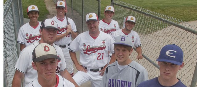 Pictured above, from left to right, are the members of this year's All-Area Baseball Team. Front row — Corbin Goedert, Ottawa; Kyle Pattrick, Baldwin; and Craig Harper, Eudora. Middle row — Jake Moore, Ottawa; Coach Brad Stoll, Lawrence; and Clint Pinnick, Lawrence. Back row — Dorian Green, Lawrence; Aaron Rea, Lawrence; and Albert Minnis, Lawrence. Not pictured: Ryan Scott and Cody Kukuk, of Free State.