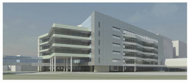 A rendering shows Kansas University Hospital's new Addition, which is scheduled to open in 2011. The 183,000-square-foot building will provide centralized office space for 211 physicians and 219 residents from Kansas University Medical Center. Doctor's offices are currently scattered throughout the hospital's campus, making it difficult for patients to find their doctors.