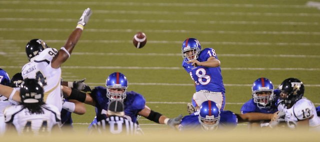 Kansas' Alonso Rojas kicks a field goal during the Jayhawks' home opener last season against Florida International on Aug. 30, 2008. Rojas is preparing for his second season as the Jayhawks' punter.