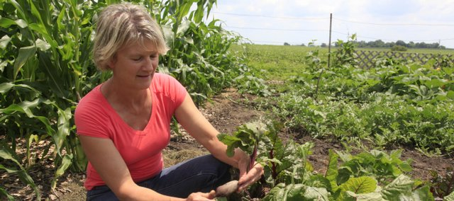 Diane Chrislip grows beets in her garden southwest of Eudora.