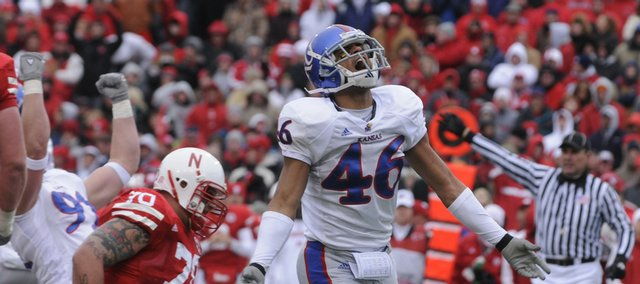 Kansas safety Justin Thornton (46) explodes with jubilation after Kansas defensive end Russell Brorsen recovered a fumble during the second quarter of KU's loss at Nebraska last season in Lincoln. Thornton finished with a team-best 11 pass break-ups last season.