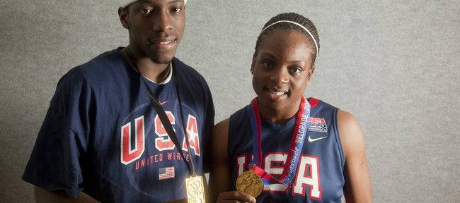Tyshawn Taylor and Danielle McCray were part of a presser on Wednesday at Hadl Auditorium showing off their gold medals they won at this summer's World Championships.