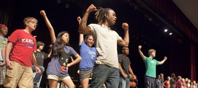 "Lawrence Community Theatre's Youth Ensemble rehearses for its upcoming production of ""Disney's High School Musical"" at Lawrence High School. The show opens Thursday."
