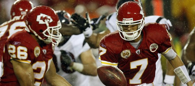 Kansas City Chiefs quarterback Matt Cassel (7) and running back Jackie Battle (26) chase after a fumbled ball during the second quarter against the Houston Texans. The Texans recovered the fumble and won the preseason game, 16-10, Saturday in Kansas City, Mo.