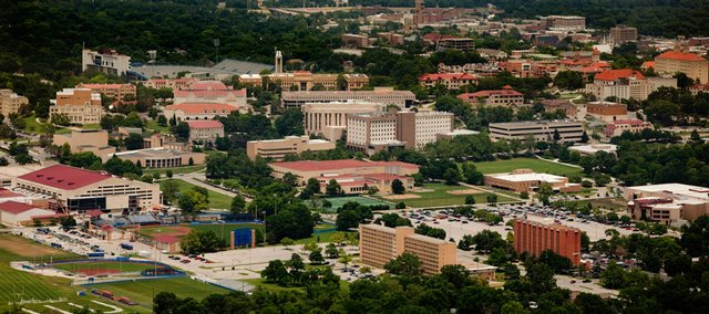 An aerial view of the Kansas University campus.