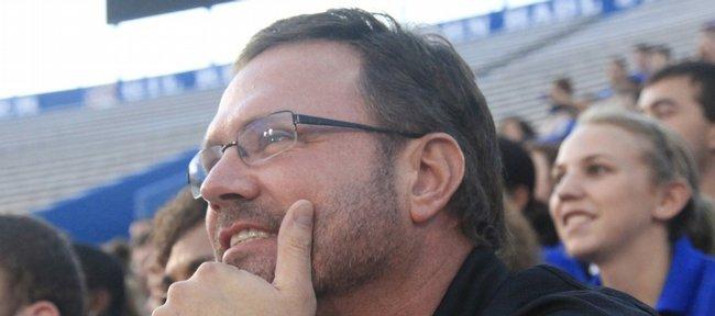 Sporting a new beard, Kansas basketball coach Bill Self watches Traditions Night festivities Monday at Memorial Stadium.