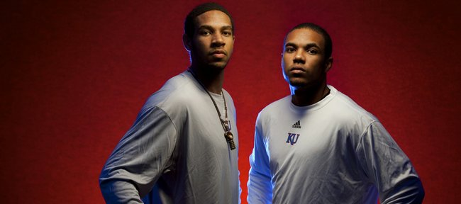 Incoming Kansas university basketball players Xavier Henry, left, and older brother C.J. Henry.