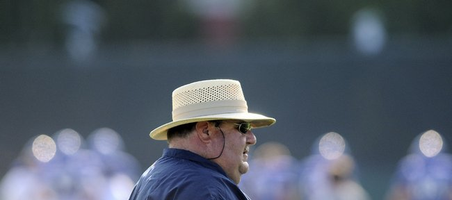 Kansas head football coach Mark Mangino scans the KU practice field Tuesday, Aug. 11, 2009.
