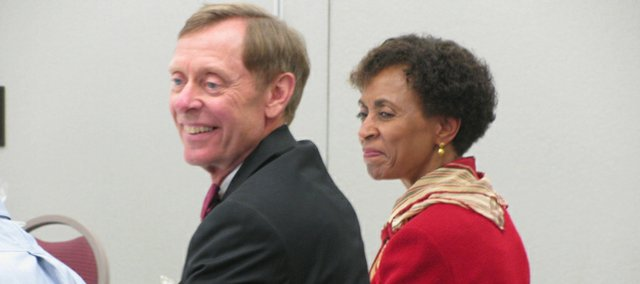 KU Chancellor Bernadette Gray-Little attended the Kansas Board of Regents retreat on Wednesday in Wichita. In the foreground is Washburn University President Jerry Farley. The regents worked on numerous issues, including funding, research and admissions requirements.