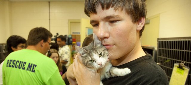 Tom Frager, an eighth-grader at Central Junior High, cuddles a kitten as he and other students learn how to volunteer at the Lawrence Humane Society, 1805 E. 19th St.