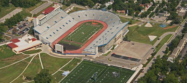 An overhead view of Kansas University's Memorial Stadium shows the Anderson Family Football Complex, at left, and the practice fields at the bottom.