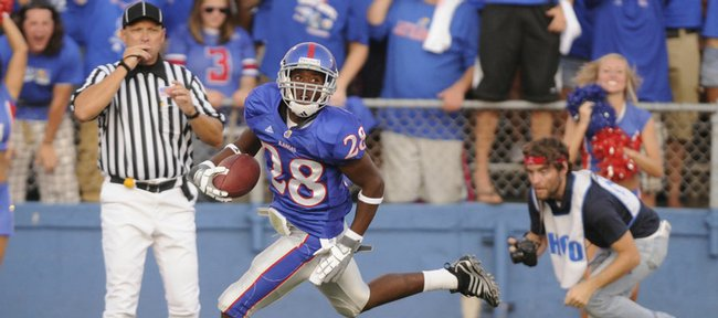 Daymond Patterson returns a punt for a touchdown against Florida International on Aug. 30, 2008, at Memorial Stadium. Patterson, who switched from wide receiver to cornerback his freshman season, is feeling much more comfortable on defense entering his sophomore year.