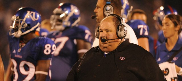 KU football coach Mark Mangino says the opening-week play of his inexperienced linebacking corps pleased him.