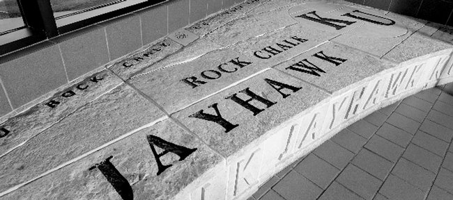 The Rock Chalk chant is inscribed on a stone bench in the Kansas Union at Kansas University. The chant is a finalist in the Kansas Sampler Foundation's 8 Wonders of Kansas Customs.