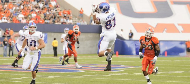 Kansas receiver Johnathan Wilson goes up for a catch against UTEP during second the quarter Saturday, Sept. 12, 2009 at the Sun Bowl in El Paso, Texas. The catch helped set up a touchdown by Jake Sharp.