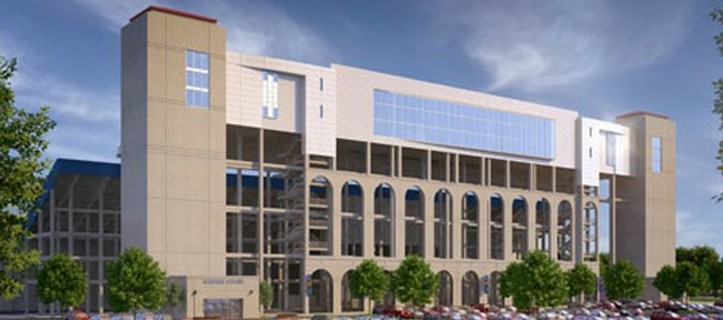 An exterior shot of the proposed 3,000-seat addition to Memorial Stadium that will include the Gridiron Club.