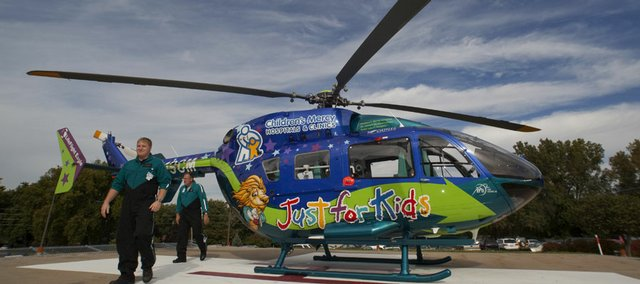 Childrens Mercy Hospitals and Clinics have added a new state of the art EV145 helicopter to its fleet. The new air medical transport is manufactured by American Eurocopter. It made a stop Friday at Lawrence Memorial Hospital as part of a tour of medical centers within a 150-mile helicopter transport region.