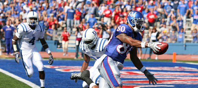 Kansas receiver Dezmon Briscoe crosses the goal line for a first quarter score against Duke on Saturday at Memorial Stadium.