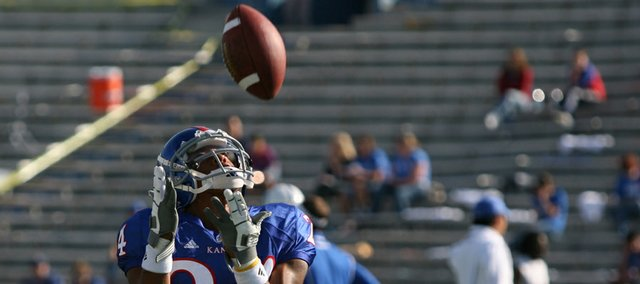 Kansas receiver Bradley McDougald catches a kick prior to kickoff against Duke on Saturday.