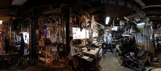 Artist Dave Van hee fills his studio with found objects for inspiration and use in his artwork at his studio east of Lawrence. This panorama photo and the one at bottom left were created by combing six   vertical images taken with a fisheye lens from a central location.