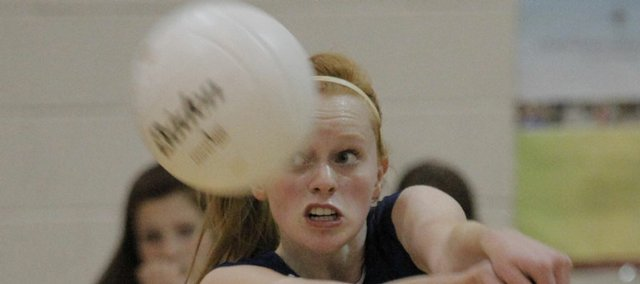Seabury sophomore Charlotte Burch strikes the ball during the Seahawks' loss Tuesday to Midland Adventist Academy.